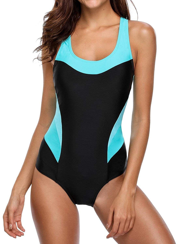 Women's One Piece Athletic Racerback Bathing Suit Color Block Swimsuit - Black - CL189QCULGI - Sport...