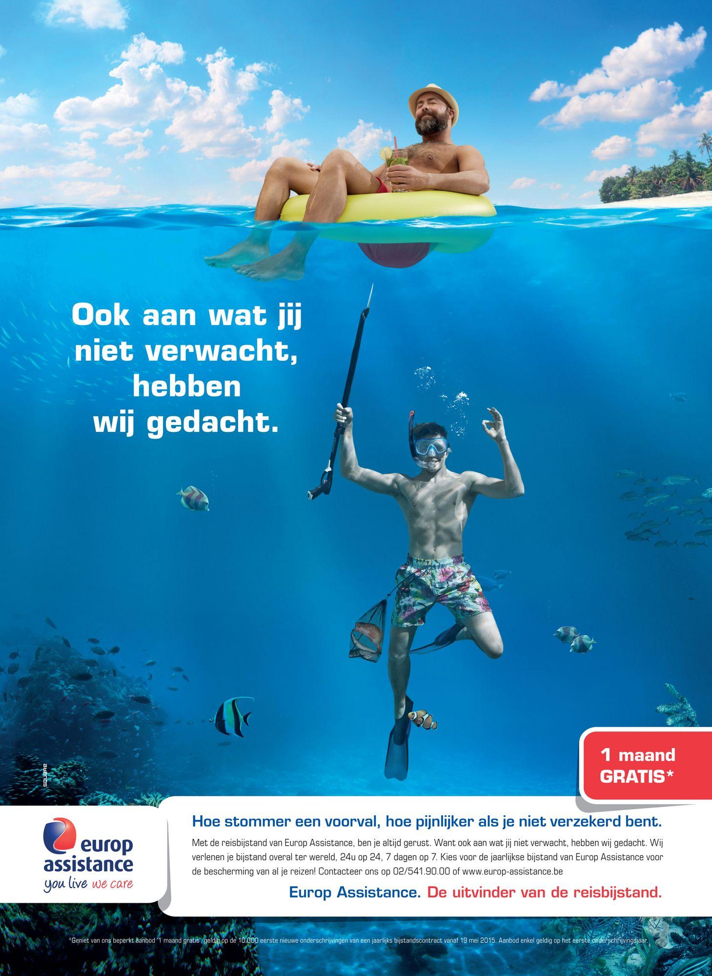 PRINT   Europ Assistance - travel insurance   stom voorval - harpoen ...