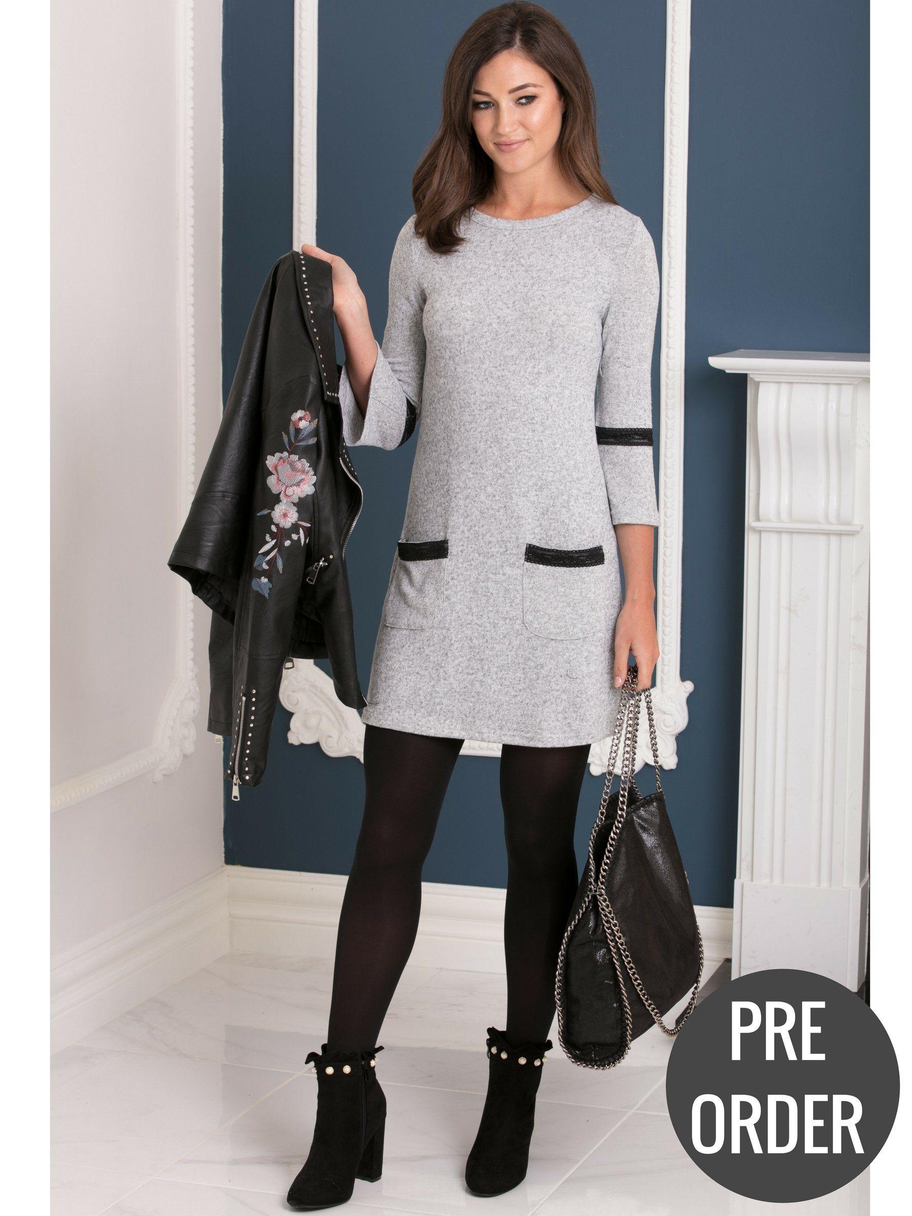 62c8db1185bc88 Trumpet Sleeve Light Knit Grey Jumper Dress