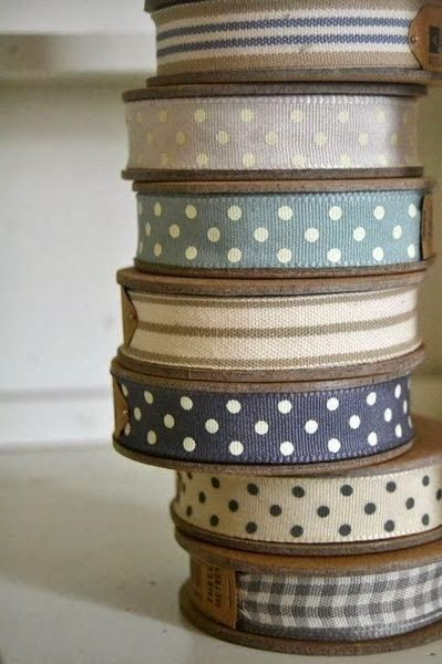 3m Roll Woven Ribbon Cream with Pink Stitching Detail East Of India