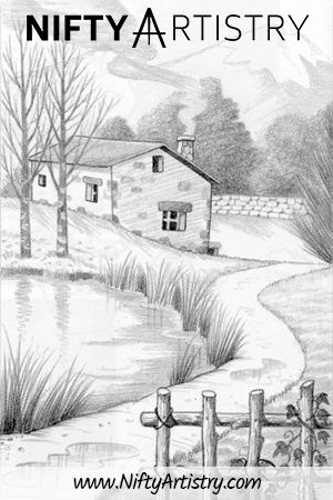 NEW Dencil Drawing of a small House in Nature