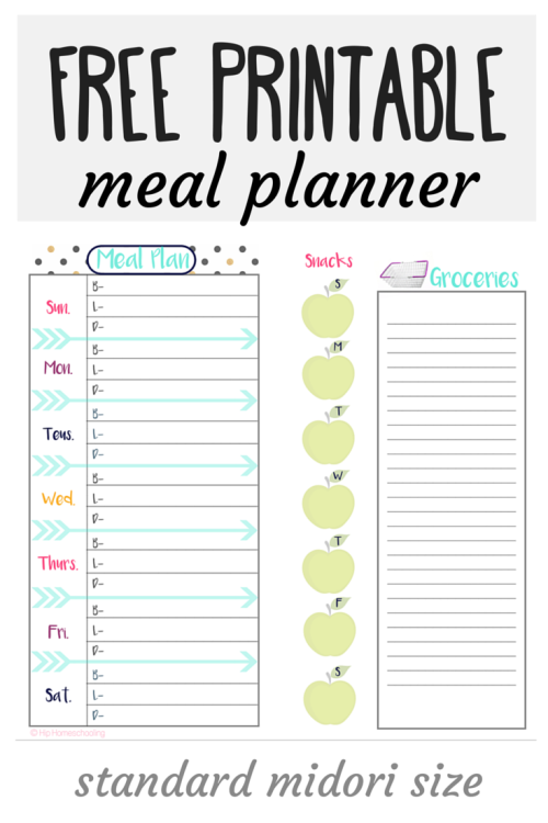 printable meal planner with snacks
