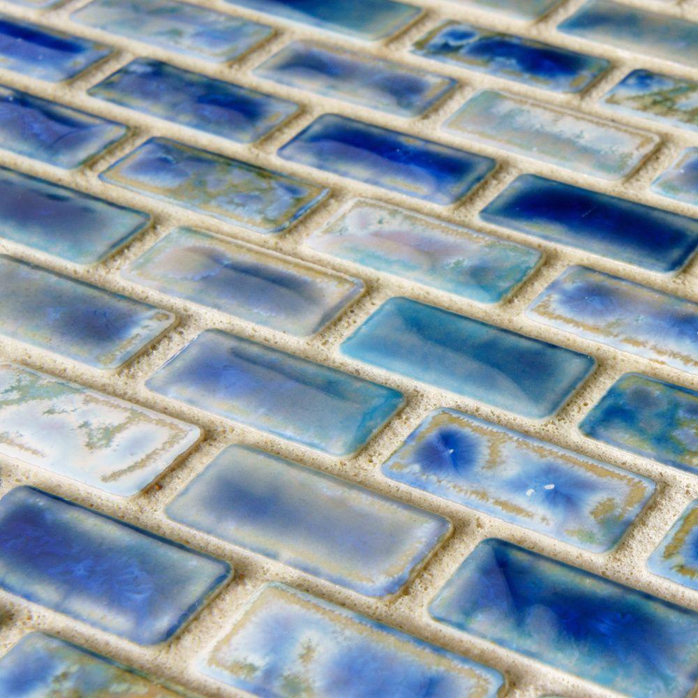 SomerTile 11.75x11.75-in Samoan Subway 0.5x1-in Neptune Blue ...