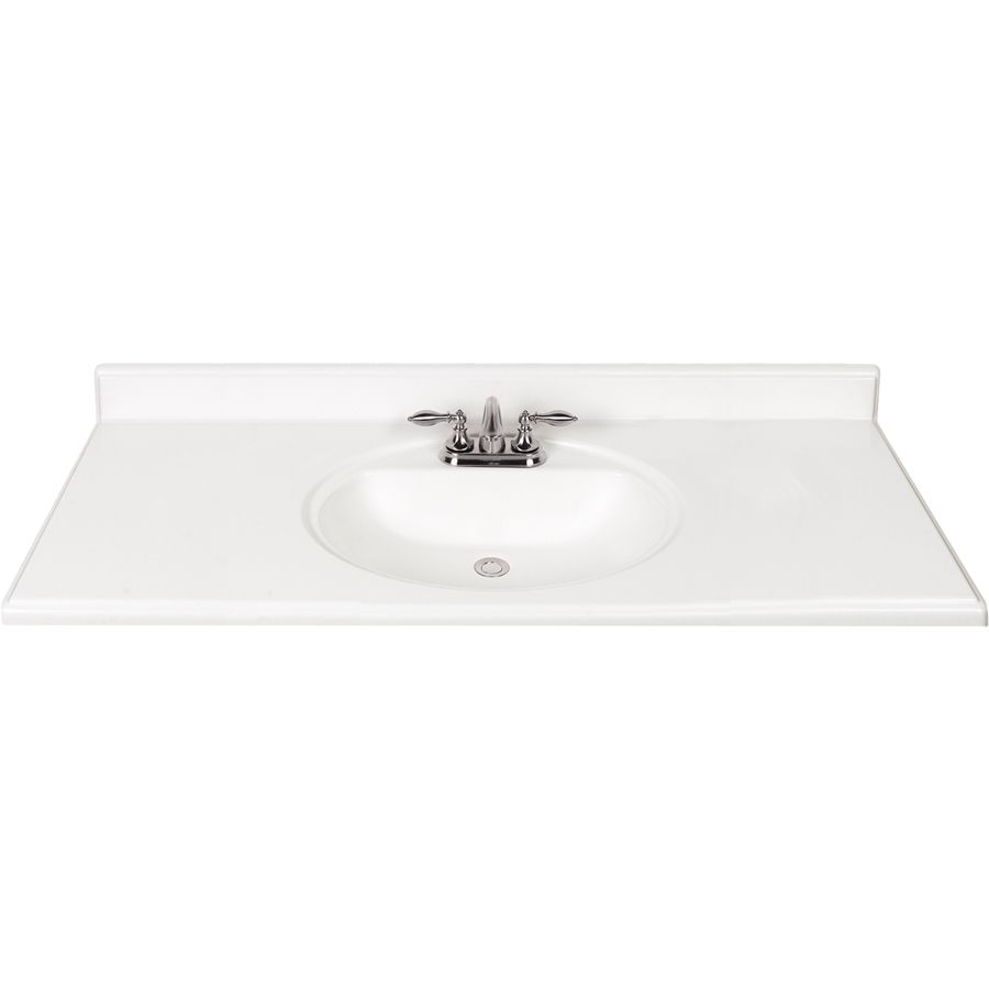 Style Selections White Cultured Marble Integral Single Sink Bathroom Vanity Top Common X Actual At Lowes