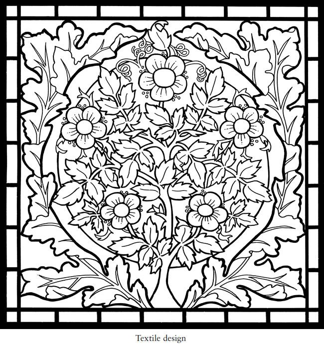 Dover Publications William Morris Stained Glass Coloring Book ...