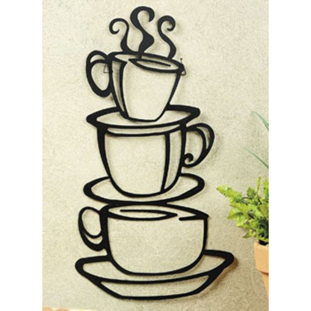 12 95 Stacked Coffee Cups Silhouettes Wall Metal Art Mugs