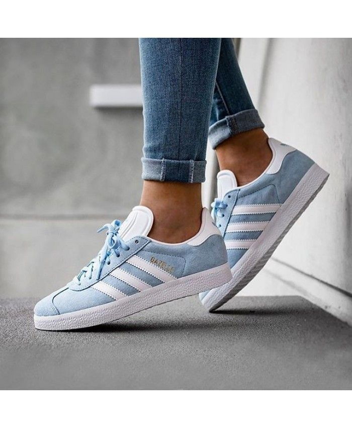 Womens Adidas Gazelle Clear Sky White Gold Metallic Trainer ...