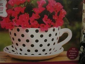 Giant Black White Polka Dot Tea Cup Saucer Flower Plant Pot Planter Planting Flowers Tea Cup Saucer Planter Pots