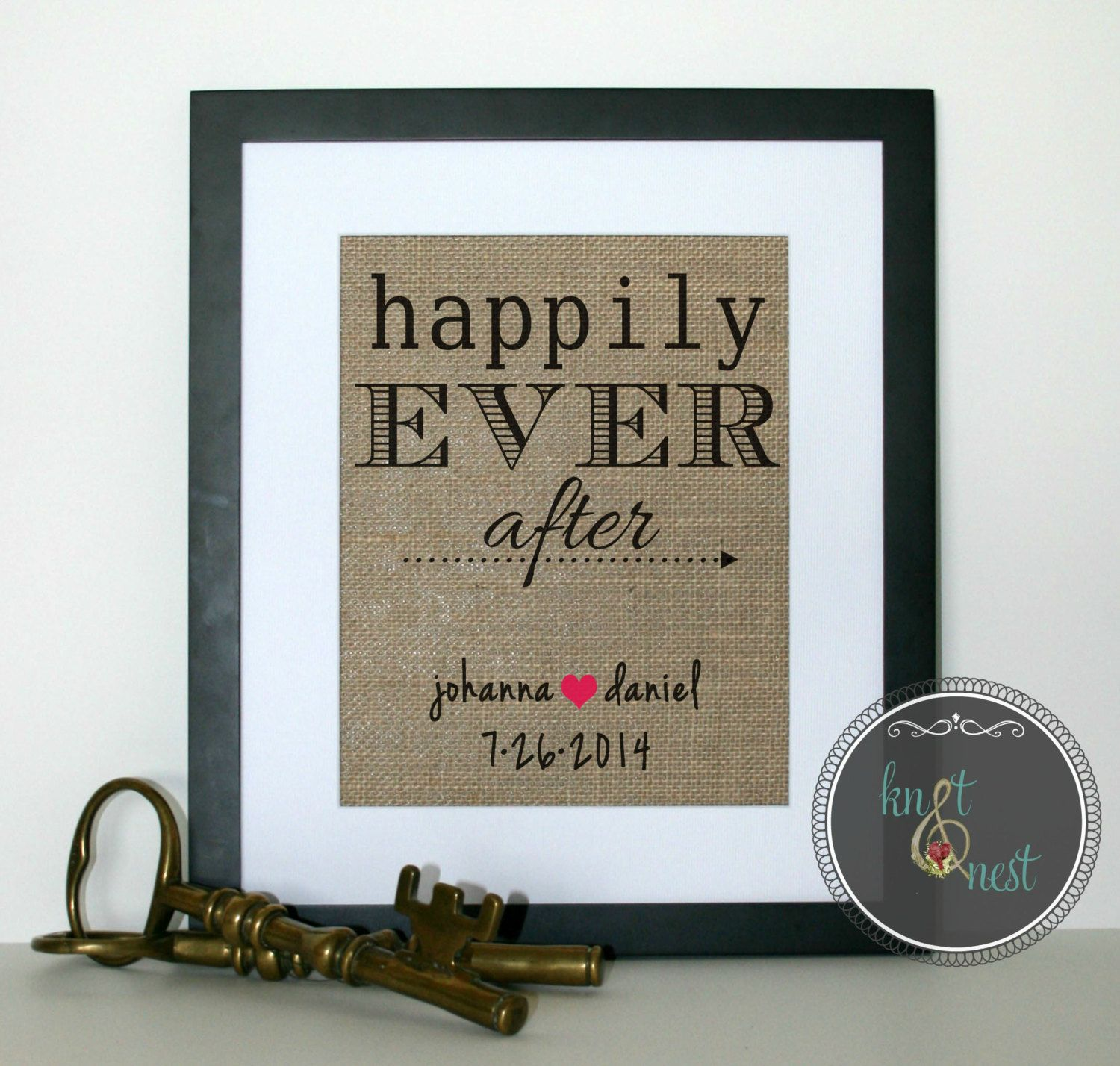 Happily Ever After Sign on Burlap for Wedding by KNOTnNEST on Etsy, $20.00