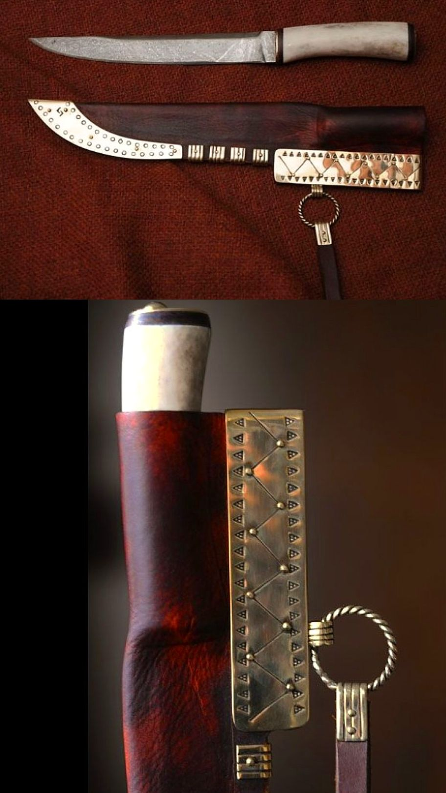 Viking leather sheath Pattren welded blade with handle made with deer antler, leather and brass fittings. Sheath made of waxed leather with brass bindings decorated with stamped ornaments, a leather strap to hang the knife on a belt. http://jorgencraft.com/index.php?route=product/category&path=95 http://jorgencraft.com/index.php?route=common/home