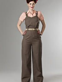 the hayride dungarees. brown stripe