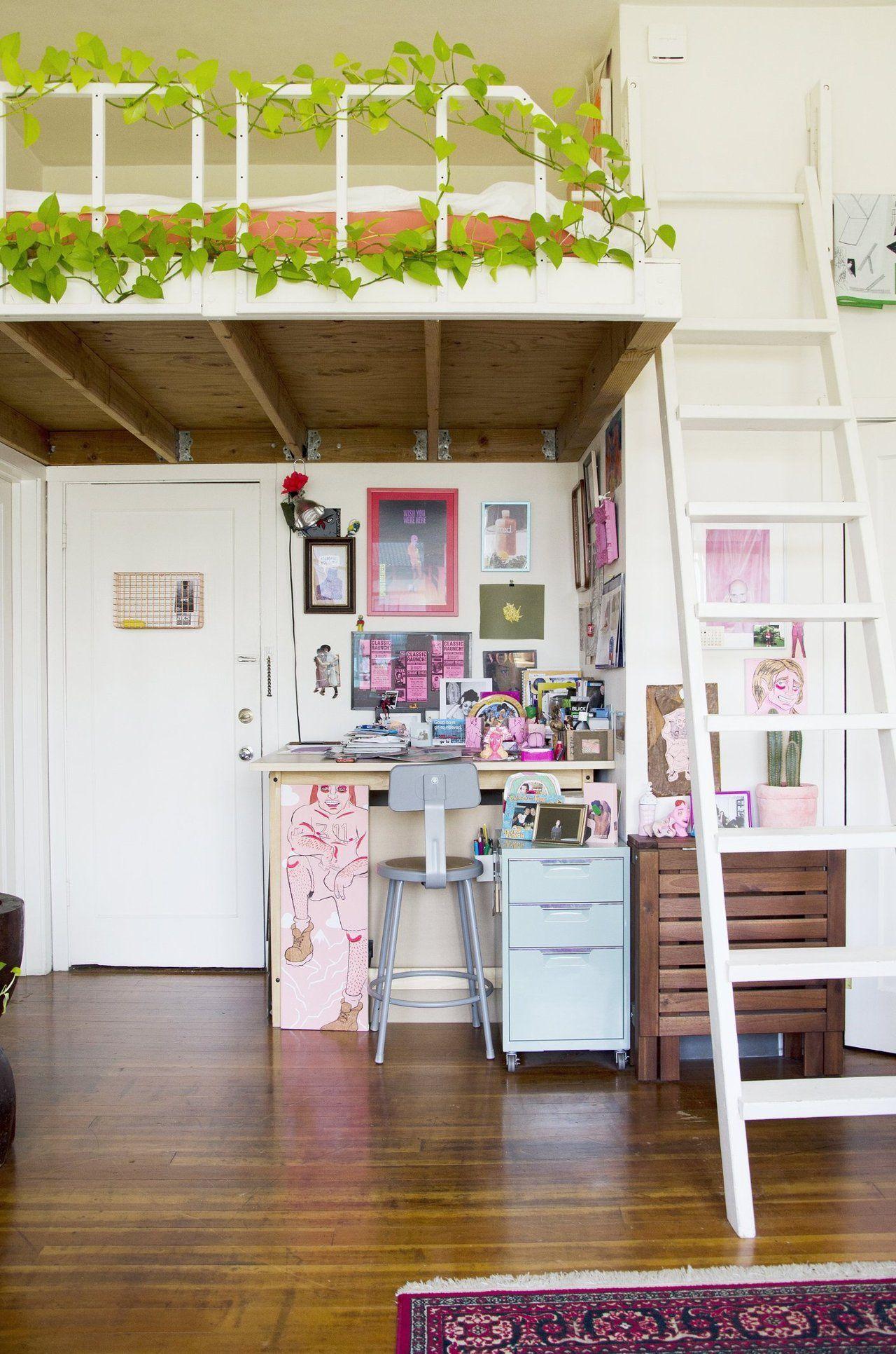 Loft bed decorating ideas  Joe u Keith Share a Tiny u Inviting Oakland Studio  Studio Lofts