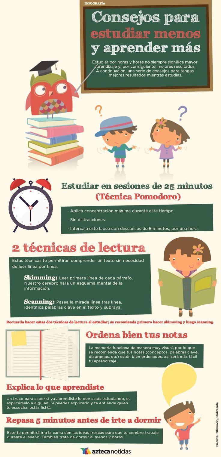 Consejos para estudiar menos y aprender m s infografia - Mejorar concentracion estudio ...