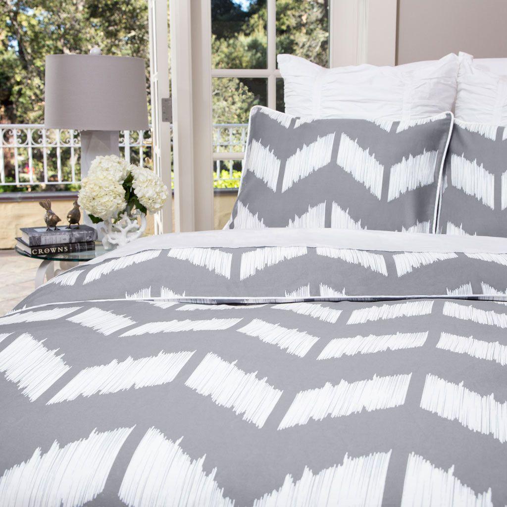 The Addison Gray Chevron Bedding Grey Duvet Set Luxury Duvet Sets