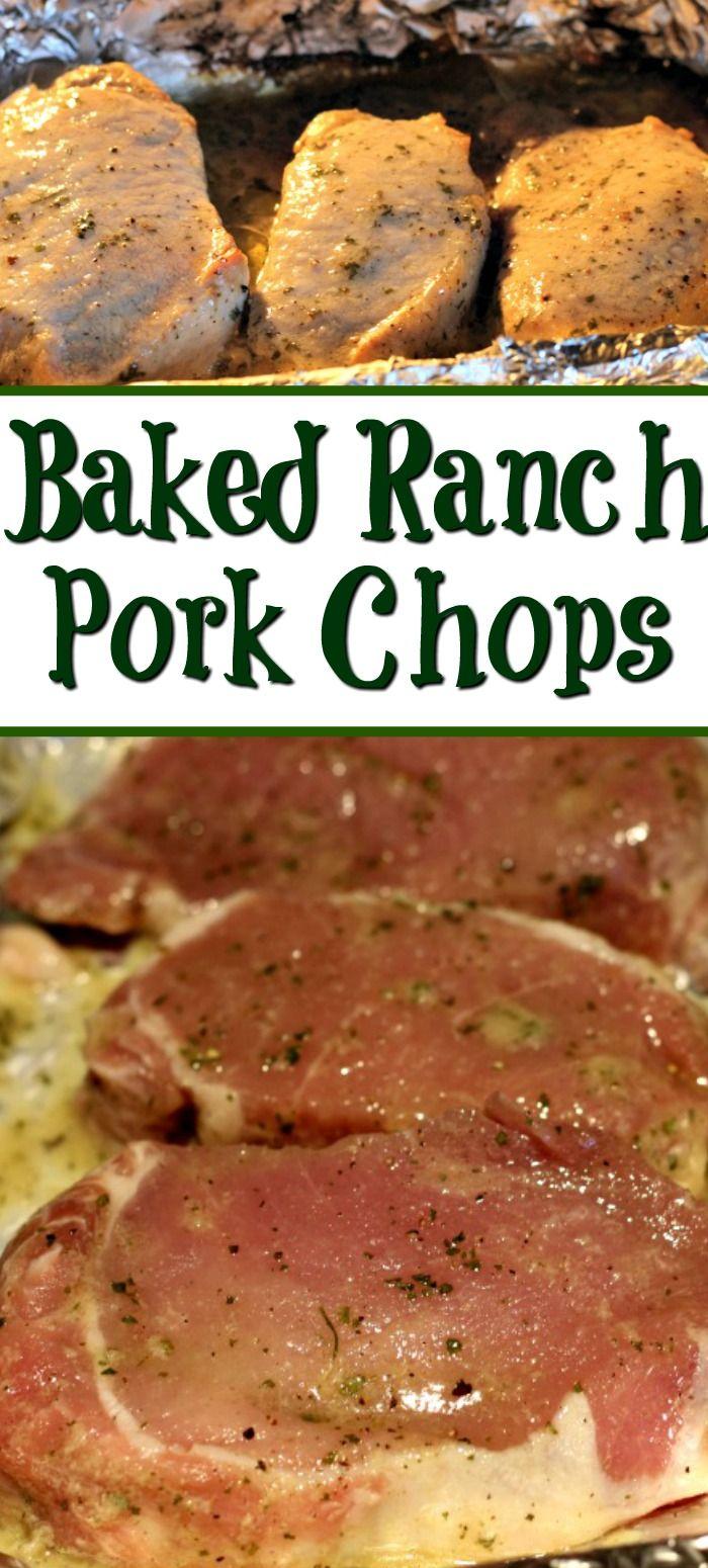 Oven Baked Ranch Pork Chops Recipe #quickdinnerideas