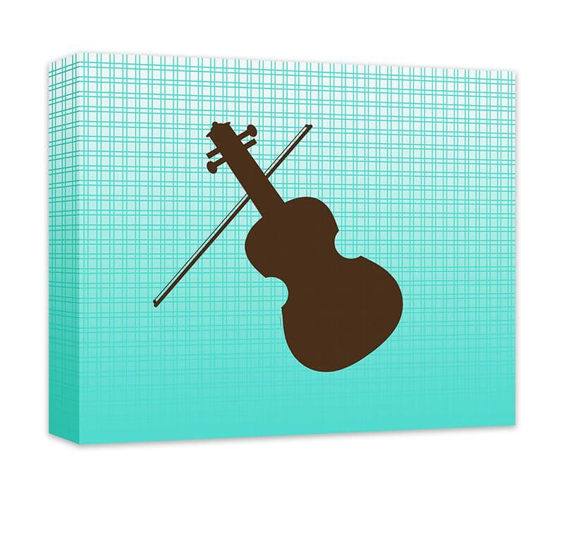 """Violin Canvas and Print Wall Art. Music themed wall art, wall art for kids in gallery wrapped canvas and prints. Baby Nursery, Kids Bedroom, Girl's Room, Boy's Room, Play Room, Children's Bathroom, Recreation Room, chocolate brown on turquoise gradient plaid pattern. Available in .75"""" or 1.5"""" thick artist grade hand-stretched canvas or professional luster print, FREE personalization, add in comments if desired."""