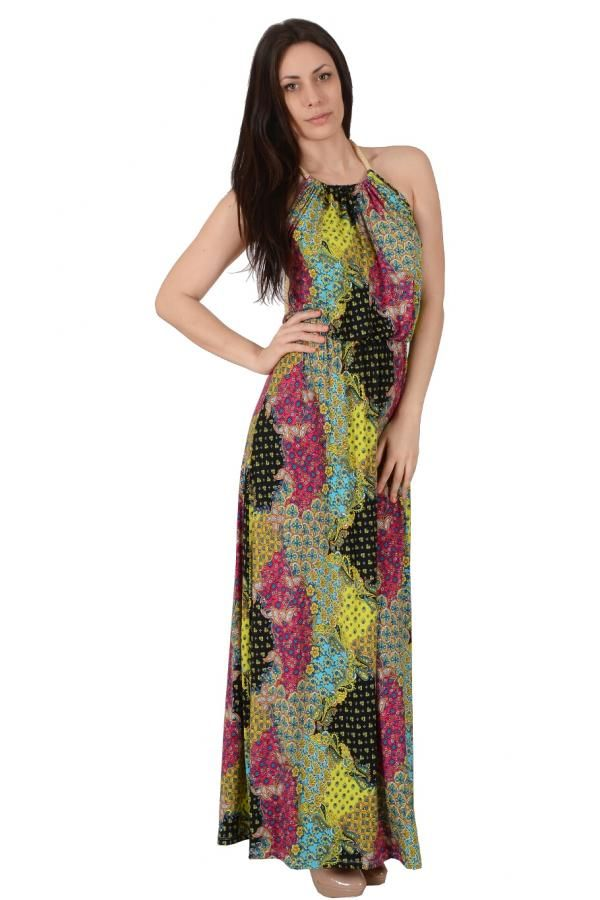 76e5264ad13 Φόρεμα εμπριμέ σε άνετη γραμμή μακρύ εξώπλατο με δέσιμο κορδόνι στον λαιμό  και λάστιχο στην μέση