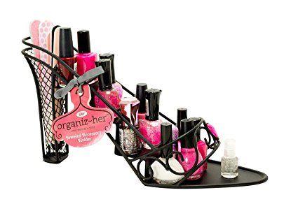 High Heel Stiletto Shoe Nail Polish Makeup Rack Metal Stand Holder