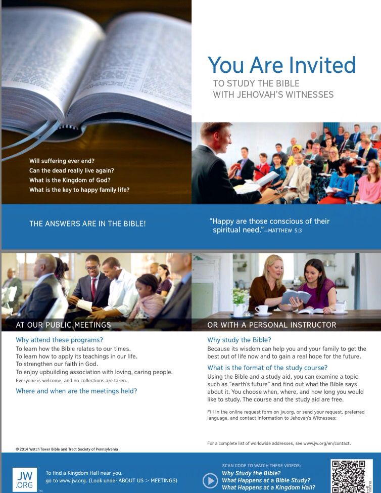 Invitation To Congregation Meetings You Are Invited To Study The Bible With Jehovah S Witnesses For More Informa Jehovah S Witnesses Jehovah Bible Questions