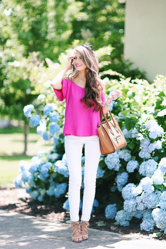 pink off the shoulder and white pants