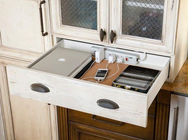 Charging Station In Drawer Kitchen Desks Home