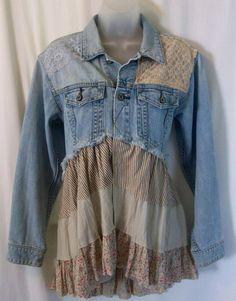 embelli la veste en Jean, veste en jean, vêtements Bohème, vêtements uniques, original, wearable art, boho veste chic, shabby chic, l