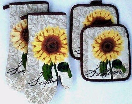 4 Pc Sunflowers Kitchen Linens Set Oven Mitts Potholders