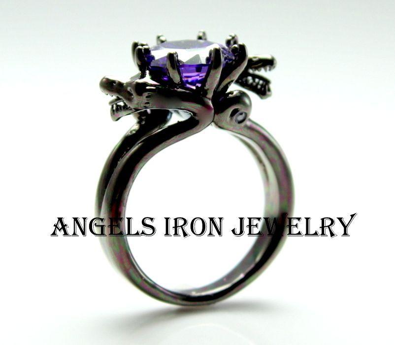 Black Snake Ring Engagement Wedding Anniversary Promise Rings ...