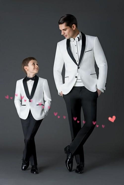 New wedding suits for men white grooms tuxedos shawl lapel boys mens ...