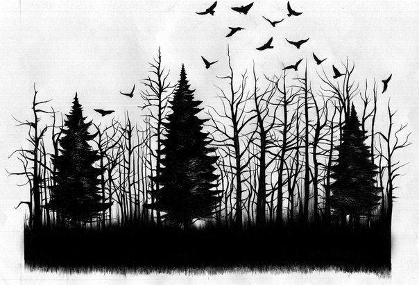 Эскизы тату лес : рисунки для