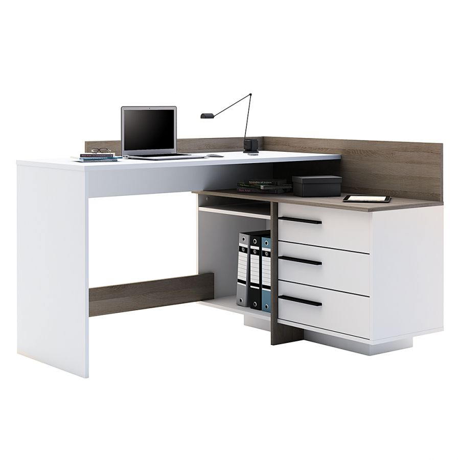 Bureau Table I Blanc Imitation Chene Fonce Meuble Ordinateur Bureau Design Bureau Blanc Conforama