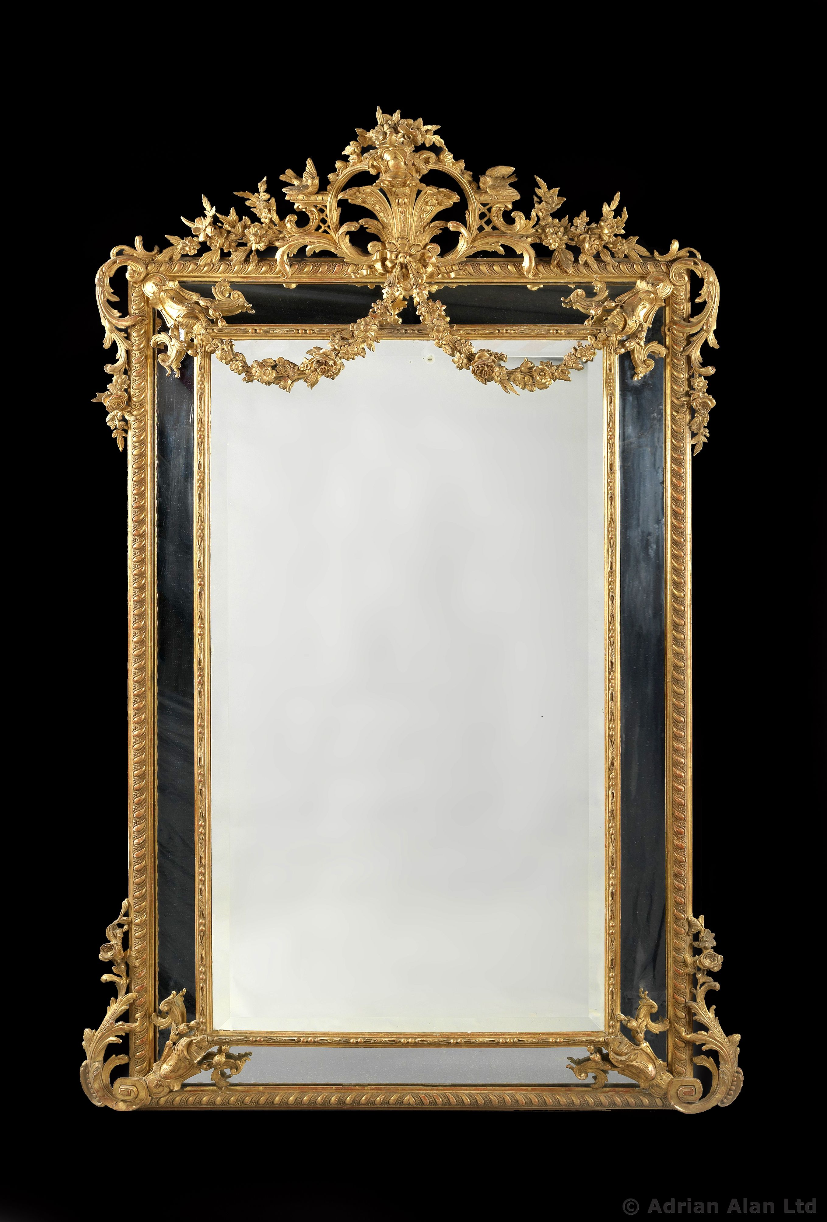 a large and finely carved louis xvi style marginal frame giltwood mirror french circa 1880. Black Bedroom Furniture Sets. Home Design Ideas