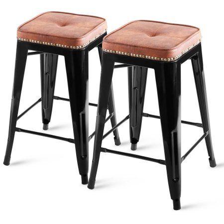 Excellent Harper Bright Designs Metal Bar Stool 24 Inch High Tolix Beatyapartments Chair Design Images Beatyapartmentscom