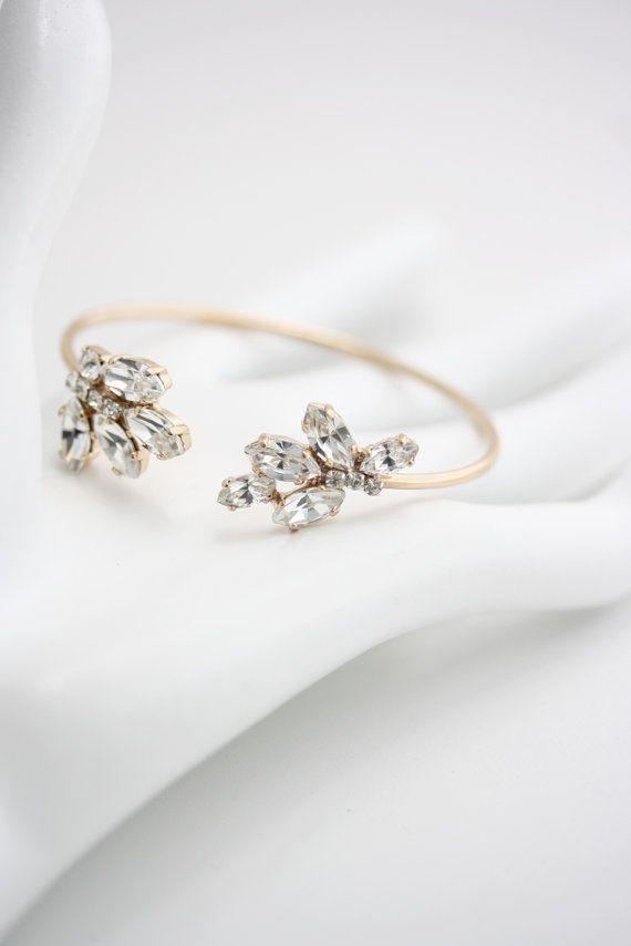Bridal Wedding Bracelet Crystal Open Cuff Bracelet Rose Gold Or