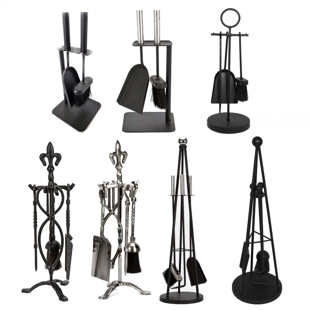 5 Piece Companion Set Black Nickel Fireside Tongs Poker Brush By Home Discount