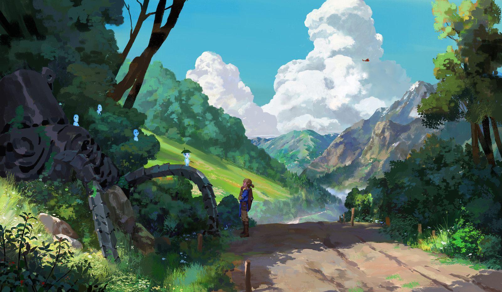 閑逛的林克 01 Wu Haibin On Artstation At Https Www Artstation Com Artwork Pq1kn Anime Scenery Fantasy Landscape Environment Painting