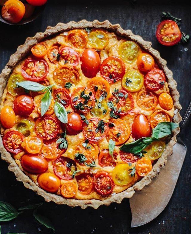 Vegan Heirloom Tomato Tart With A Walnut Base Vegan