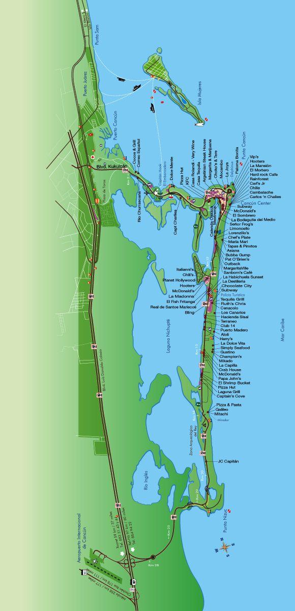Cancun Restaurants Map Cancun In 2019 Cancun