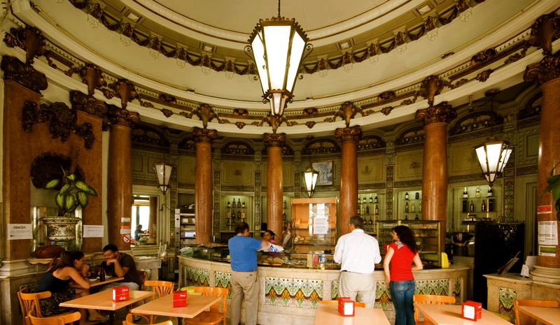 Pasteleria SAO ROQUE,Lisbon. The common name for coffee in most of Portugal is Bica. In Oporto,home of the famous Port wine, is called Cimbalinho in reference to the machines used to make it.
