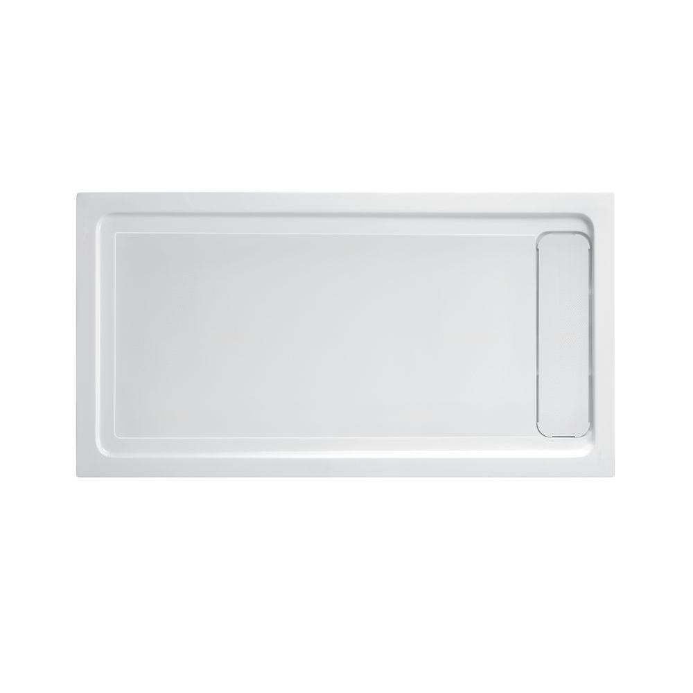 Schon 32 In X 60 In Single Threshold Shower Base With Side Hidden Drain In Glossy White Sc70015 With Images Shower Base Glossy White Powder Room Design