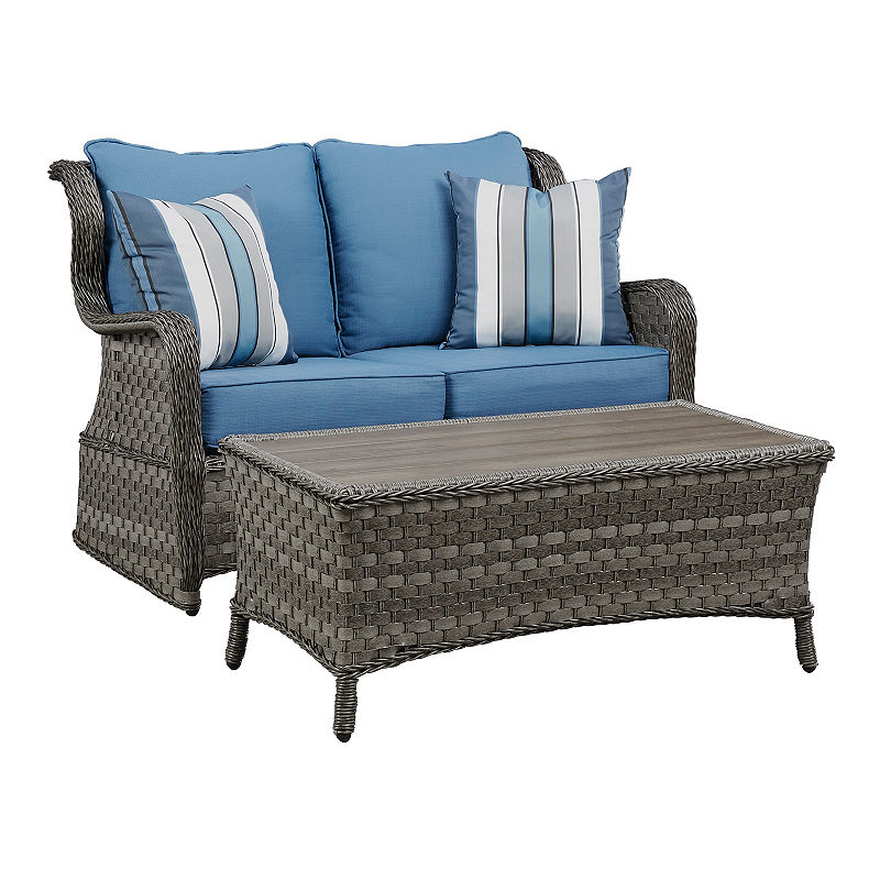 Outdoor By Ashley Capri Glider And Table Set Outdoor Loveseat
