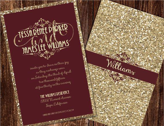 Champagne and Burgundy Wedding Invitations, Maroon Wedding ...