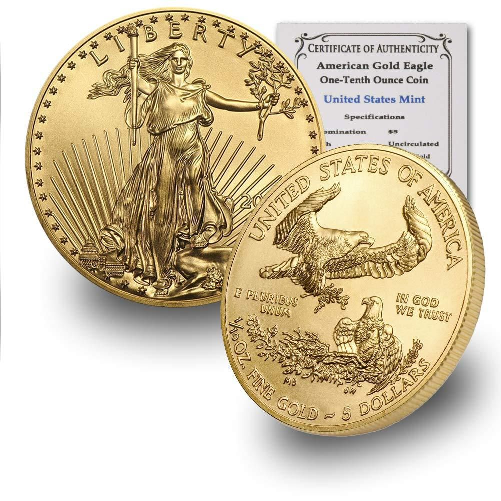 2020 1 10 Oz Gold American Eagle Bu In Coin Flip With Coinfolio Coa 5 Brilliant Uncirculated In 2020 Gold American Eagle Gold Bullion Coins Coins