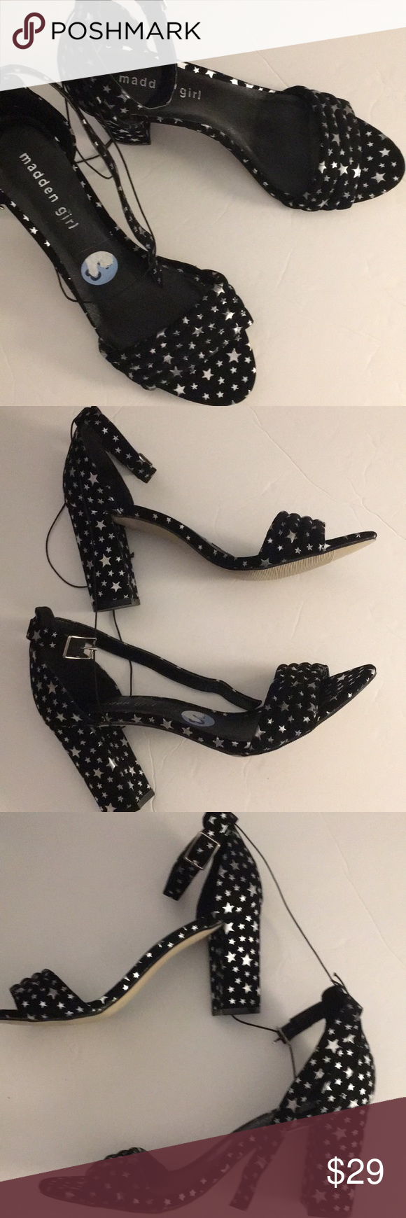 7422730c3ced5e Steve Madden Beella Star Print Block Heel New. Narrow-Average. 3 1