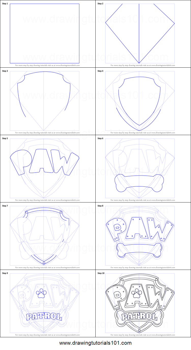 how to draw paw patrol badge printable drawing sheet by