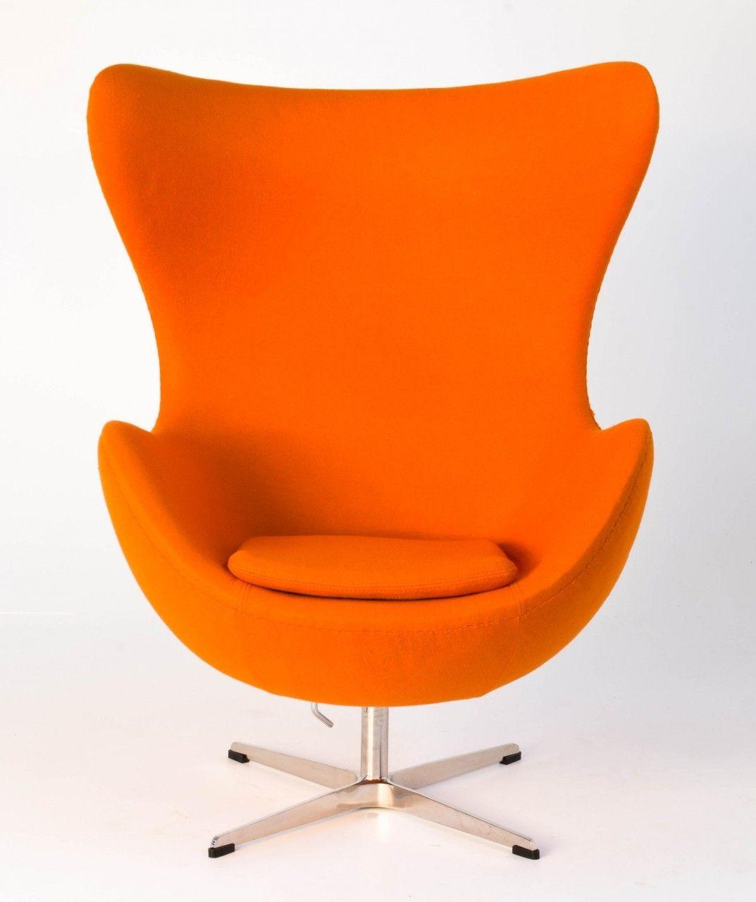 Classics designers arne jacobsen egg chair replica in cowhide - Replica Egg Chair Orange