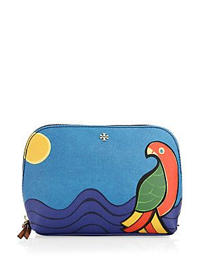 Tory Burch Kerrington Parrot Cosmetic Case - Blue-