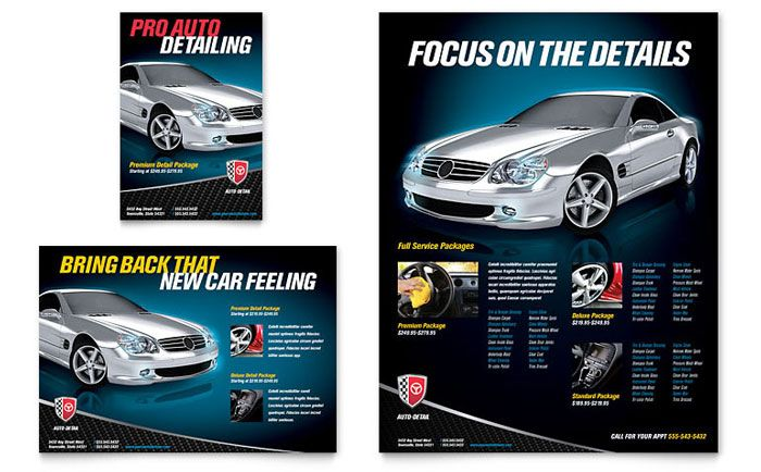 Auto Detailing Flyer and Ad Design Template by StockLayouts Work - car flyer template