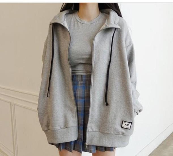 Photo of jacket, grey, grey, hoodie, tumblr, aesthetic, korean fashion, oversized, grey h…