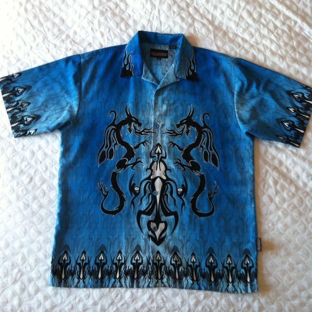 3611d99c2 Mens Sapphire Lounge XL Shirt Dragons Flames Tribal Bowling Hawaiian Style  #SapphireLounge #ButtonFront